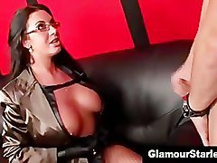 Nasty clothed stockings slut gets double cumshots