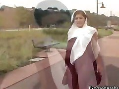 Horny Arab girl in a white scarf gets part4