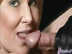 Hot BLond in Black Gloves Gives a BJ