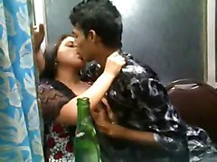 Indian lovers kissing n Boobs squeeszing front of friends