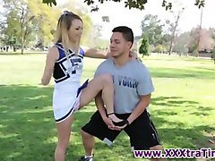 teen cheerleader tugs rod