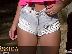 ripped denim shorts, brunette teen beauty with cameltoe