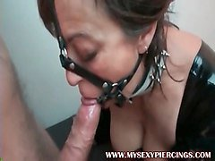 my sexy piercings slave with pierced cunt in bdsm action