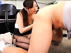 slutty secretary in pantyhose reveals her rimjob and blowjo
