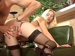 Blond Likes To Fuck With Stockings On